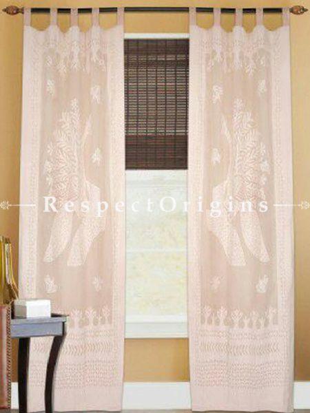 Buy Beige Peacock Design Applique Cut Work Cotton Window or Door Curtain; Pair At RespectOrigins.com