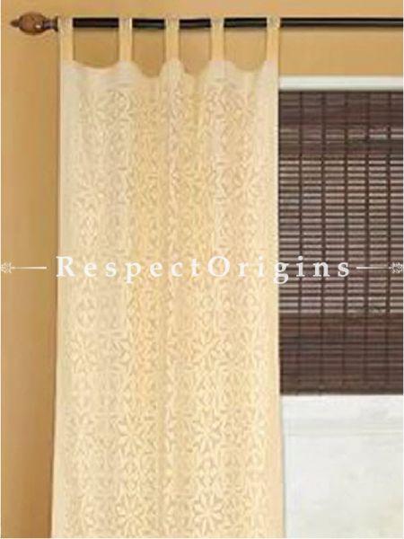 Buy Beige Floral Design Applique Cut Work Cotton Window or Door Curtain; Pair At RespectOrigins.com