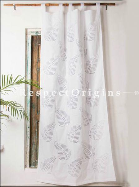 Buy White Leaf Design Applique Cut Work Cotton Window or Door Curtain; Pair; Handcrafted At RespectOrigins.com
