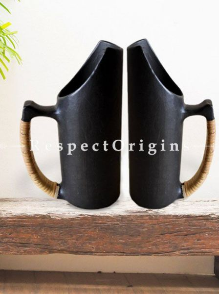 Set of 2 Jugs; Handcrafted Longpi Manipuri Black Pottery; 4X9. 5 inches; Chemical Free; RespectOrigins
