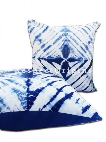 Buy Set of 2 Hand Weaved Tie and Dye Blue Shibori Print Square Cotton Cushion Cover At RespectOrigins.com