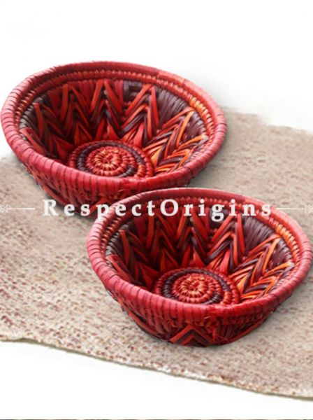 Lovely Pair of Handwoven Warm Red Zig Zag Pattern Moonj Grass Eco-friendly Natural Fibre Snack Bowls 3X6 inches; RespectOrigins