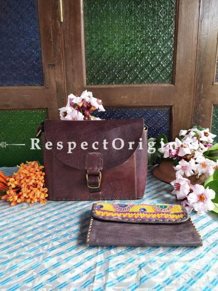 Brown Satchel Hand-stitched Buckle Bag in Genuine Leather Bag with Brown Embroidered Flap Clutch; Set of 2; RespectOrigins.com