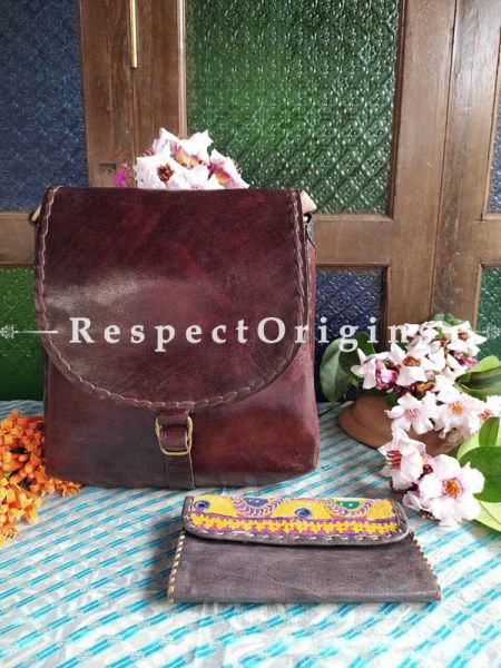 Cherry Brown Unisex Genuine Leather Satchel and Embroidered Clutch Combo; RespectOrigins.com
