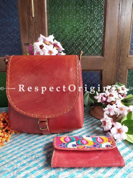 Buy Brick Red Leather Cross Body Unisex Bag with a Wallet. ; RespectOrigins.com