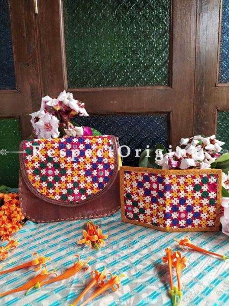 Buy Hand Embroidered Genuine Leather Bag with Yellow Card Holder Set of 2; RespectOrigins.com