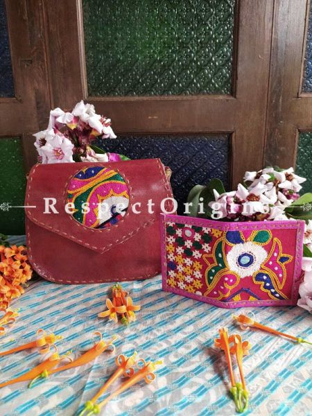 Buy Hand Embroidered Genuine Leather Bag with Pink Card Holder; Set of 2; RespectOrigins.com