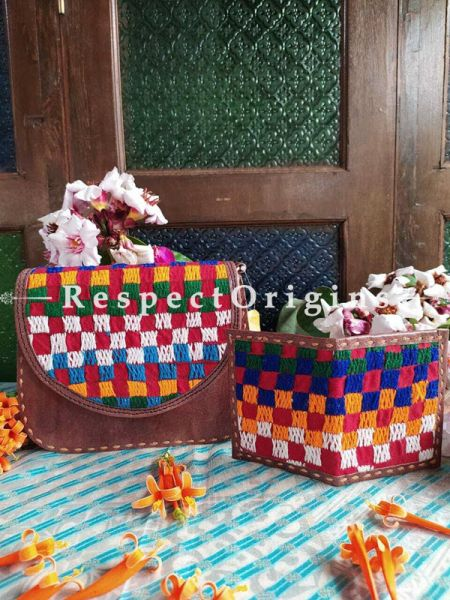 Buy Luxury Hand Embroidered Genuine Leather Bag with Brown Card Holder, Set of 2; RespectOrigins.com