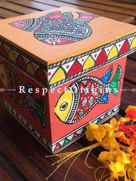 Buy Set of 2 Madhubani art Wooden Box With fish and peacock and Best used to keep dry fruits etc. 4x4x4 in At RespectOrigins.com