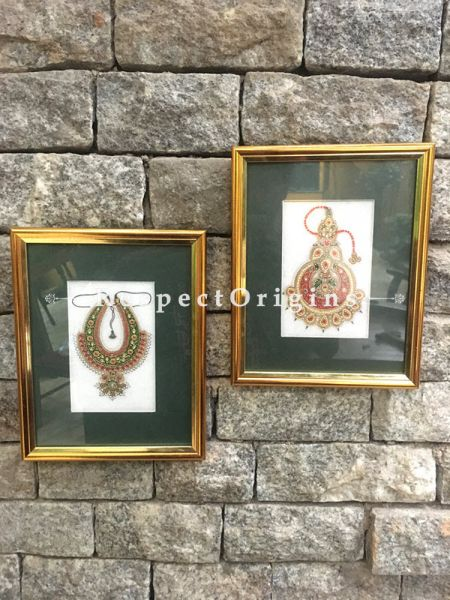 Buy Set of 2 Miniature Paintings of Traditional indian Jewelry Sets On Marble 5X7 inches; Vertical; Rajasthani Wall Art at RespectOrigins.com