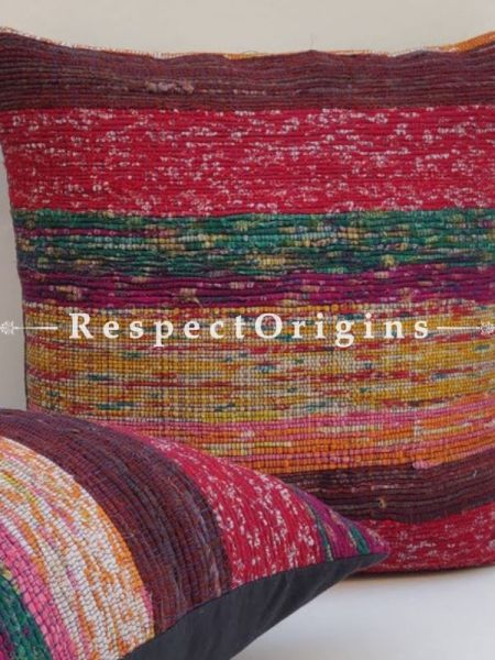 Buy Set of 2 Multi-coloured Woolen Mixed Square Cotton Rug Cushion Cover At RespectOrigins.com