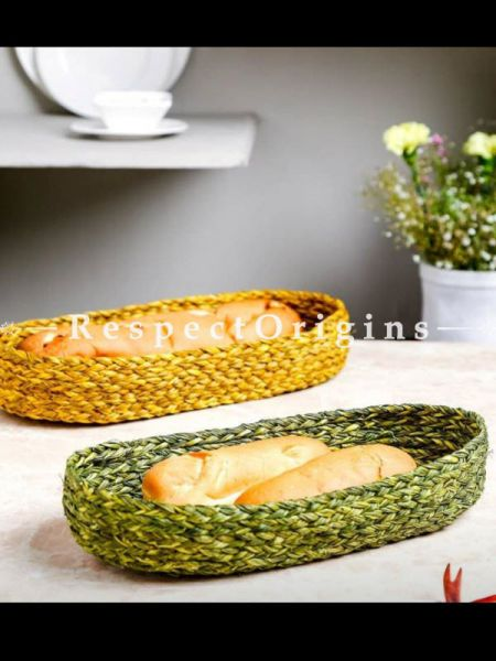 Set of 2 Hand Made Eco Friendly Sabai Grass Bread Basket; 6 x 12; RespectOrigins.com
