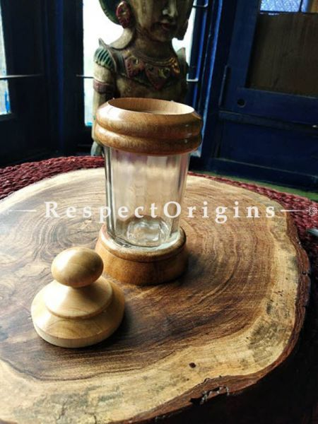 Set of 2 Stylish Wooden And Glass Jar