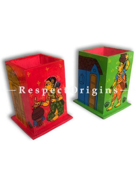 Buy Gorgeous and Colorful Cheriyal Painting Pen Holder or stationary holder in Red and Green, Set of 2; Wood At RespectOrigins.com