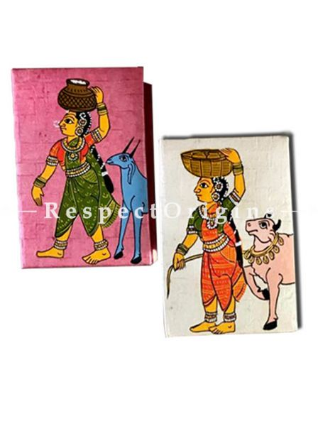 Gorgeous and colourful Jewellery or Collectible Boxes with Cheriyal Painting Pair, RespectOrigins.com
