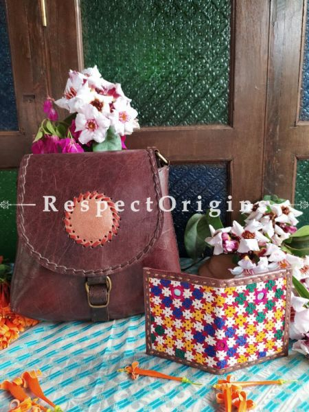 Luxury Hand Embroidered Genuine Leather Bag with Brown Card; RespectOrigins.com