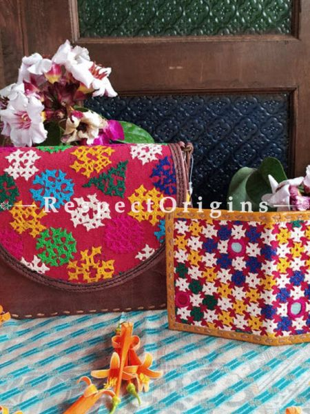 Buy Luxury Hand Embroidered Genuine Leather Bag with Yellow Card Holder Set of 2; RespectOrigins.com