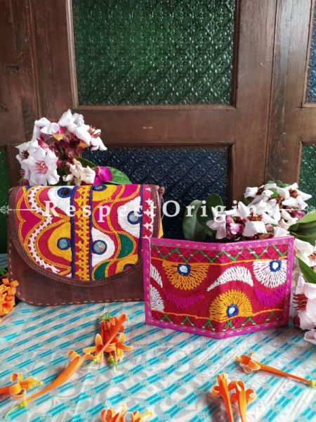 Buy Luxury Hand Embroidered Genuine Leather Bag with Pink Card Holder; Set of 2; Respectorigns.com