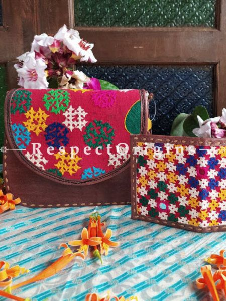Buy Luxury Hand Embroidered Genuine Leather Bag with Brown Card Holder; Set of 2; RespectOrigins.com