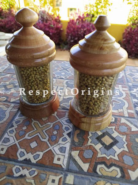 Buy Set of 2 Containers; Handcrafted Wooden and Glass Small Jar; Container At RespectOrigins.com
