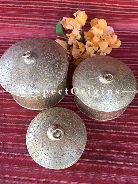 Buy Set of 3 Brass Dabro or Boxes; Handcrafted Brass Mukhwas Containers or Dabbi At RespectOrigins.com