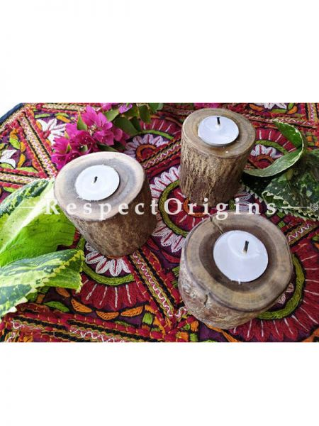Buy Set of 3 Candle Stand or Votive; Natural looking Rustic Wooden Candle Stand At RespectOrigins.com