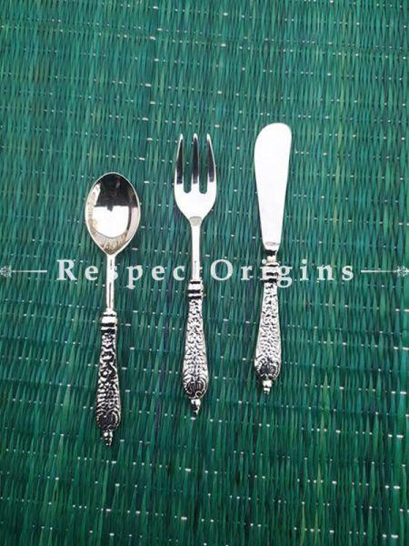 Buy Set of 3 Designer Stainless Steel Brass Finish Cutlery Set At RespectOrigins.com