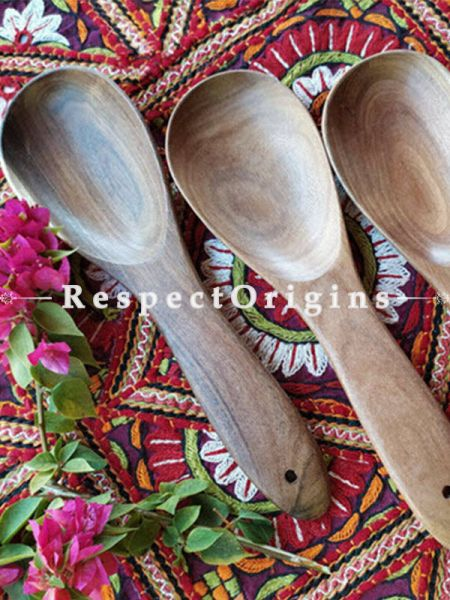 Set of 3 Ladle or Serving Spoon; Handmade Oval Shaped Wooden Ladles; RespectOrigins