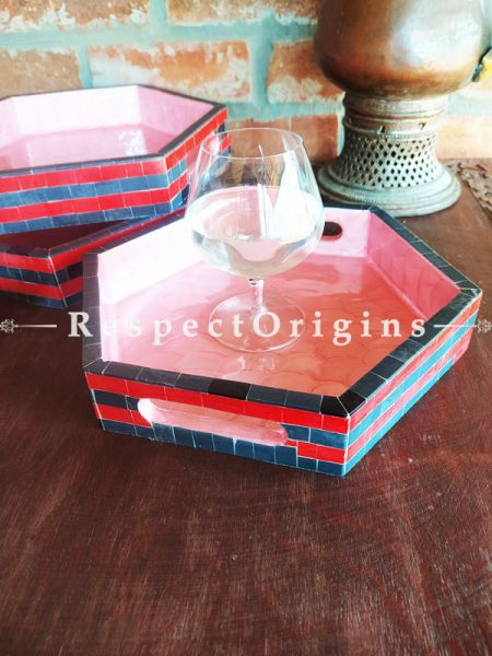 Hexagonal Serving Tray Set of 3; Mother of Pearl Style Handiwork; Gift Set; RespectOrigins.com