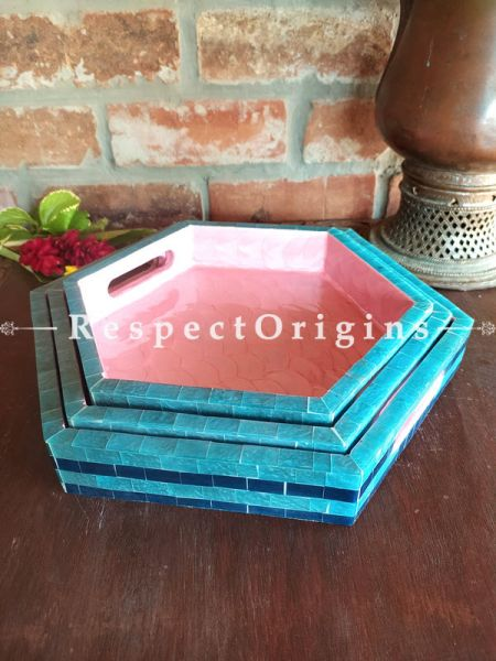 Set of 3 Pink and Blue Hexagonal Serving Trays with Mother of Pearl Style Handiwork; RespectOrigins.com