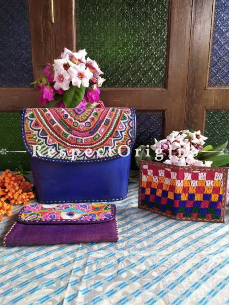 Buy Luxury Hand Embroidered Genuine Leather Bag with Purple Clutch and Brown Card Holder; Set of 3; RespectOrigins.com