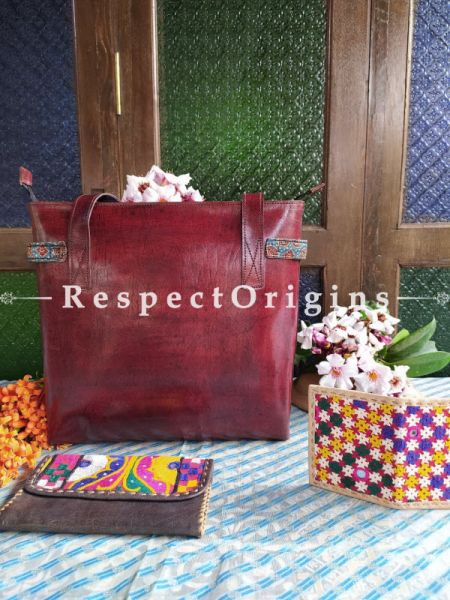 Luxury Hand Embroidered Genuine Leather Bag with Black Clutch; RespectOrigins.com