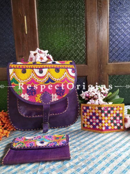 Luxury Hand Embroidered Genuine Leather Bag with Blue Clutch and; RespectOrigins.com