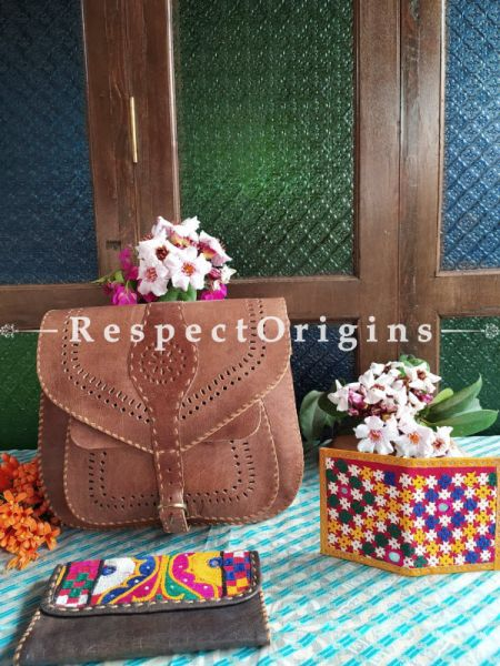 Luxury Hand Embroidered Genuine Leather Bag with Brown Clutch; RespectOrigins.com