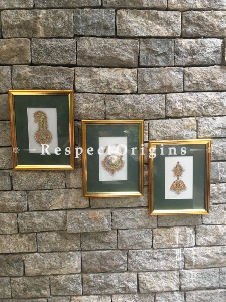 Set of 3 Miniature Paintings of Traditional indian Jewelry Sets On Marble 5X7 inches; Vertical; RespectOrigins