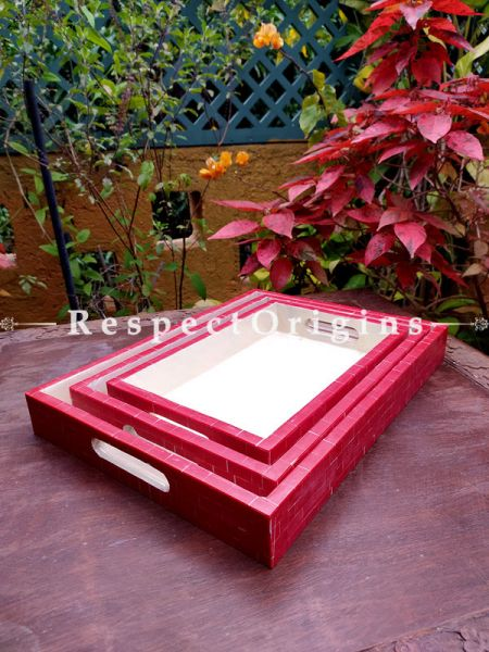 Set of 3 Rectangular Serving Trays with Mother of Pearl Style Handiwork in Red and White; RespectOrigins.com