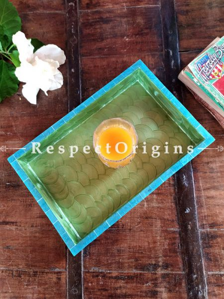 Set of 3 Rectangular Serving Trays with Mother of Pearl Style Handiwork in Blue and Green; RespectOrigins.com