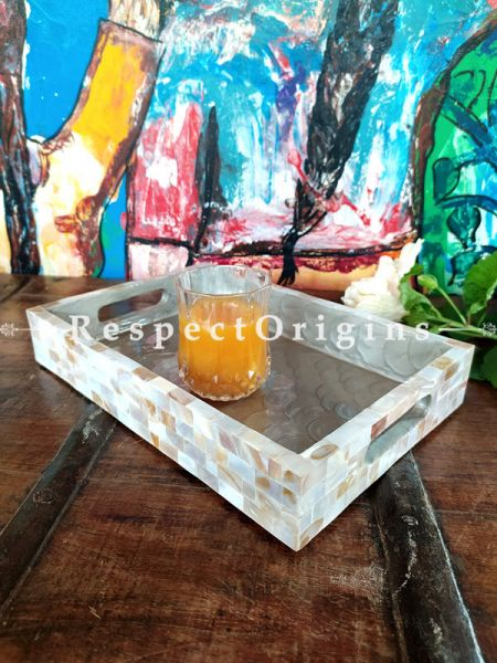 Handcrafted Rectangular Serving Trays with Mother of Pearl in Natural Color; Set of 3; RespectOrigins.com
