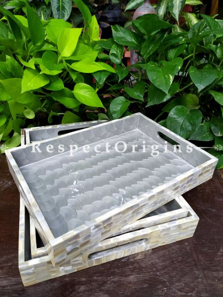 Set of 3 Rectangular Serving Trays with Mother of Pearl Style Handiwork in Natural Color; RespectOrigins.com