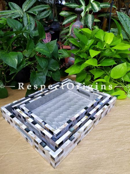 Grey Black n White Contemporary Set of 3 Serving Trays with Mother of Pearl Style Handiwork; RespectOrigins.com