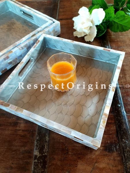 Soft Blue Set of 3 Square Serving Trays with Mother of Pearl Style Handiwork ; RespectOrigins.com