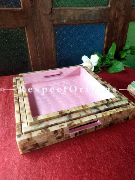 Set of 3 Square Serving Trays with Mother of Pearl Style Handiwork in Pink Base; RespectOrigins.com