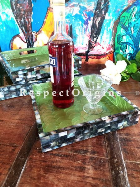 Gardenia Square Serving Trays, 3,  with Mother of Pearl Style Handiwork in Black with Green Base; RespectOrigins.com