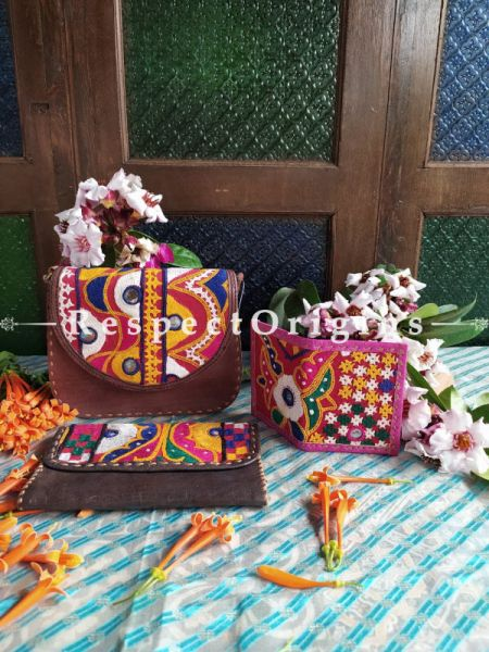 Luxury Hand Embroidered Genuine Leather Bag with Brown Clutch RespectOrigins.com