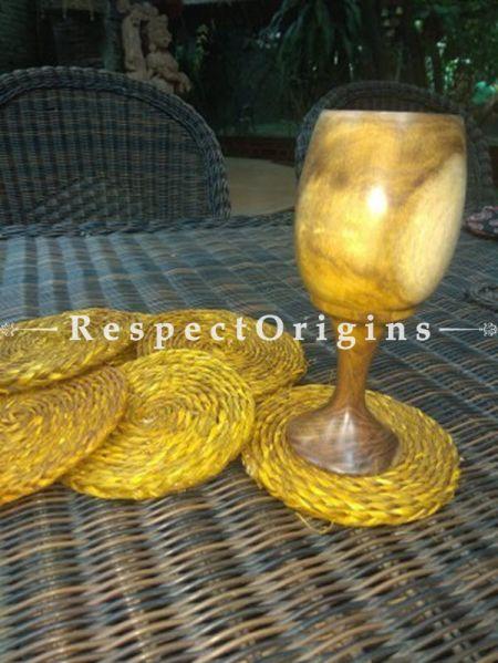 Buy Set of 3 Wooden Wine Goblets, Natural color At RespectOrigins.com