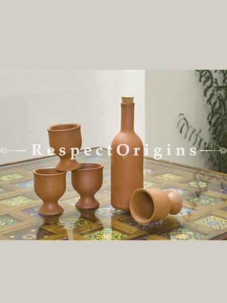 Buy Set of 4 Beer Glass With a Earthen Bottle, Terracotta At RespectOrigins.com