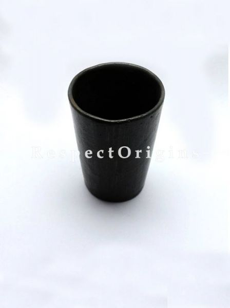 Buy Set of 4 Clay Tumbler; Handcrafted Longpi Manipuri Black Pottery; 5x2.5 in; Chemical Free; Cylindrical At RespectOrigins.com