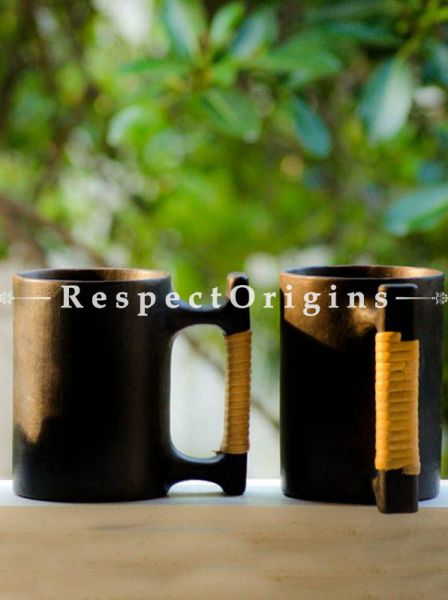Buy Set of 4 Beer Mugs; Clay; Handcrafted Longpi Manipuri Black Pottery; 5.5x3.5 in; Chemical Free At RespectOrigins.com
