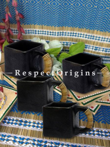 Buy Set of 4 Square Clay Tea Cups; Handcrafted Longpi Manipuri Black Pottery; 3x3x3 in; Chemical Free At RespectOrigins.com