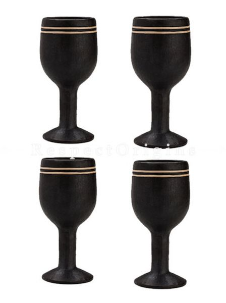 Buy Rattan Cane Embellished Wine Clay Goblets; Set of 4. Longpi Manipuri Black Pottery; 3x6 in; Chemical Free At RespectOrigins.com